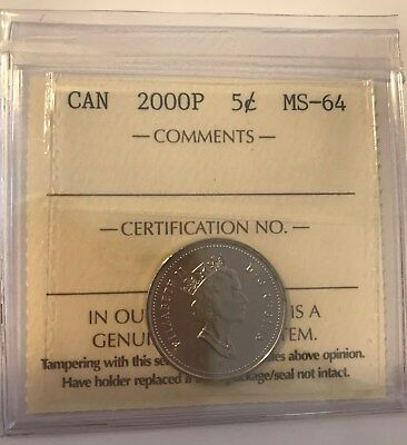 2000P Canada Nickel 5 cents coin - ICCS Graded MS64 **NO TAX**