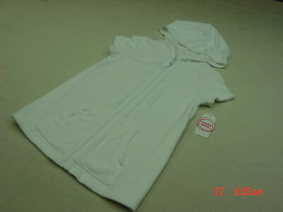 51a886d8be3bd NWT Girls Terry Cloth Beach Cover Up Swim White Summer Zippered Hooded  Sporty
