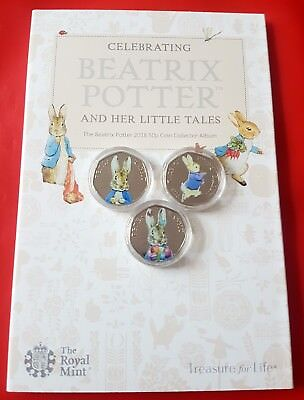Beatrix Potter Peter Rabbit 50p Coins Uncirculated Coloured coin collection