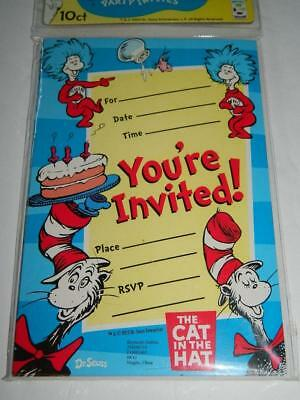 Dr Seuss Birthday Party Invitations Thing 1 2 Cat In The Hat Cards 10pk New