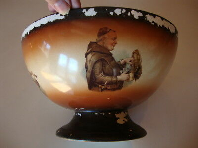 VERY RARE Antique Friar Monk Bowl LeBeau Porcelain Early 1900's Sebring Ohio USA