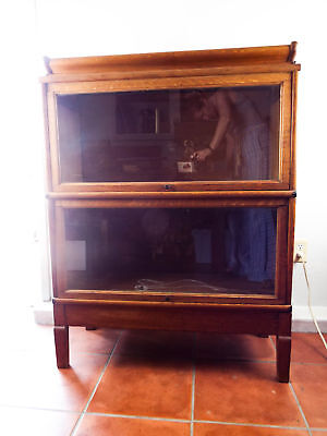 Antique Oak Barrister Lawyers Cabinet Macey 2 Sectional Stacking Bookcase 1900s