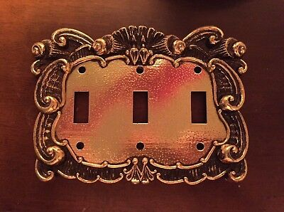 Vintage Brass Triple Switch Plate Cover - Metal Gold Ornate 3 LightAged