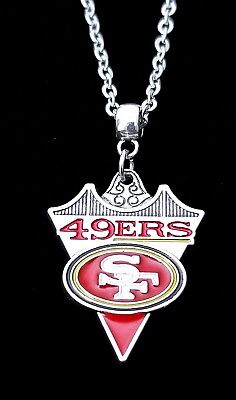 "San Francisco 49ers NFL Logo Pendant Charm Silver Chain Necklace Jewelry 24"" 22"""