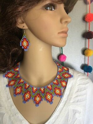 Mexican Huichol Choker With Earrings