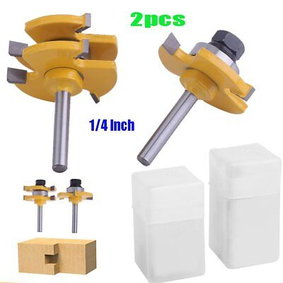 2PCS Tongue Groove Router Bit Set 1/4inch Shank Woodworking Milling Cutter Tools
