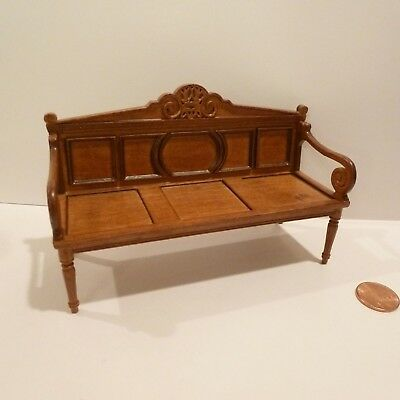 "Miniature ""jacobean"" Wooden Settee   By Bespaq   New Walnut Finish"