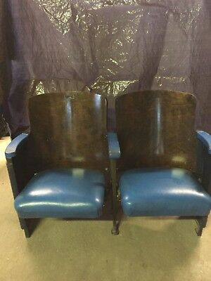 Vtg Antique Art Deco Pair Cast Iron Movie Theater Seats Opera House Chairs Blue
