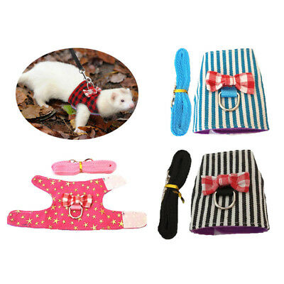 Striped Rabbit Hamster Harness and Leash Set Bowtie Squirrel Ferret Chest Strap