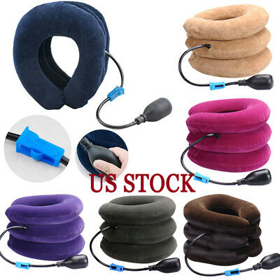 Inflatable Air Travel Pillow Airplane Neck Head Chin Cushion Office Nap Rest USA
