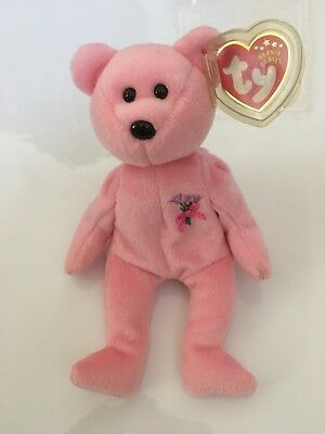 NEW 2001 TY Beanie Babies Plush Sparkle Pink MUM The BEAR w/Flowers Mom Mother