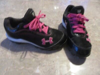 Under Armour Girls Size 13K Baseball Soccer Sports Shoes Cleats Black Pink Kids