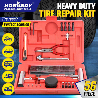 56Pc Tyre Puncture Repair Kit Tube Recovery Plugs Heavy Duty Car 4WD With Case