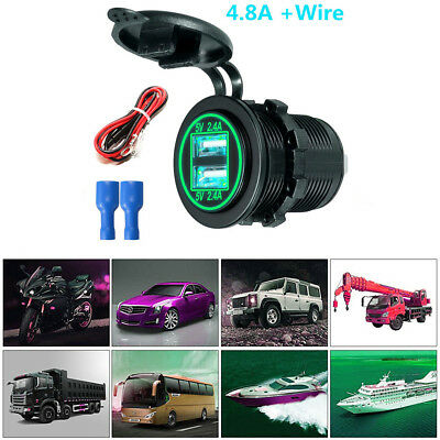 Car Dual USB Charger Socket Power Outlet With Wire In-line 10A Fuse Waterproof
