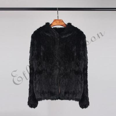 Real Rabbit Fur Knitted Coat Hooded Plain Vintage Thick Jacket Overcoat One Size