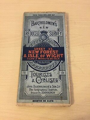 Bartholomew's Vintage Cloth Map Sheet 33 New Forest & Isle Of Wight