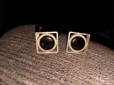 Vintage Unsigned Cufflinks Gold Tone Square with Round Black onyx Stone