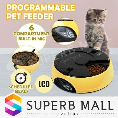 AUTO Automatic Digital LCD Program Pet Dog Feeder Dispenser Food Bowl Cat 6 Meal