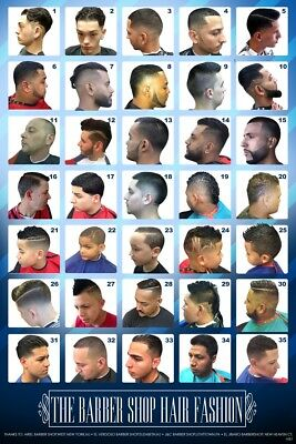 24 X 36 Barber Shop Poster Modern Hair Styles For Men Youht And Kids Hispanic