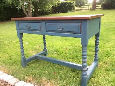 Antique Console Table Desk Server two drawers Painted Farrow & Ball Base