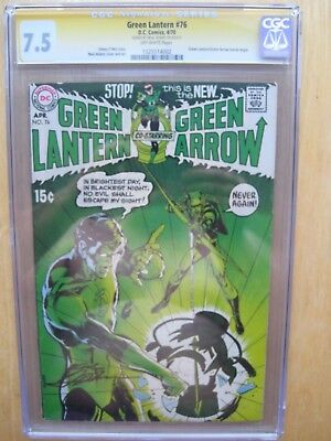 green lantern 76 CGC 7.5 green lantern  green arrow signed Neil Adams 1970