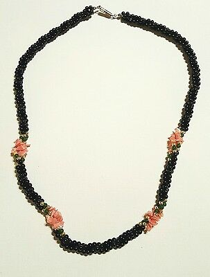 Beautiful Vintage Angelskin Pink CORAL Green Jade Black Onyx Bead Necklace