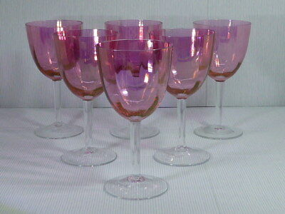 Krosno Poland Cranberry Crystal Wine Glass x 6