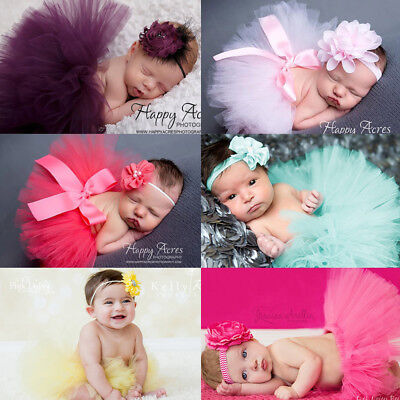 Newborn Baby Girl Headband+Mesh Tutu Skirt Costume Photo Photography Prop Decor