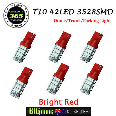6pcs Red T10 3528SMD 42-LED Light Auto Roof Side Trunk Box Parking Globes Bulbs
