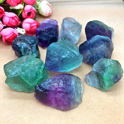 Natural Colorful Fluorite Crystal Quartz Rough Raw Stone Healing Decor 1.5-2cm