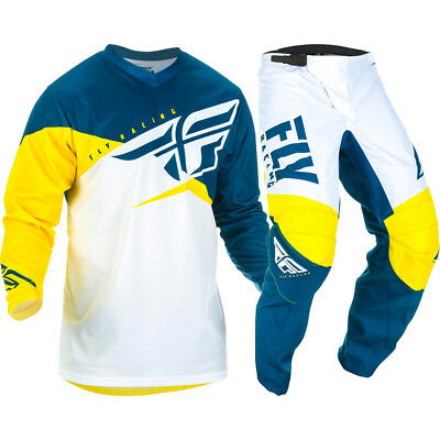 NEW Fly Racing 2019 MX F-16 Yellow White Navy Jersey Pants Motocross Gear Set