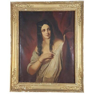 19th Century French Antique Oil Painting Gilt Frame Portrait of Woman