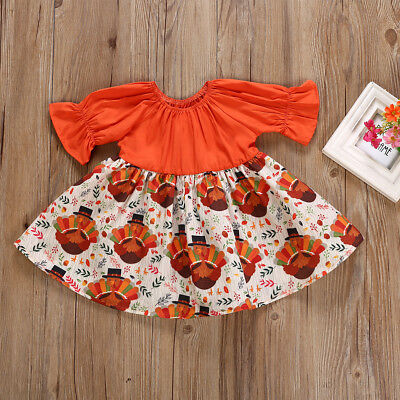 US Stock Toddler Kid Baby Girl Thanksgiving Turkey Party Pageant Dress Clothes