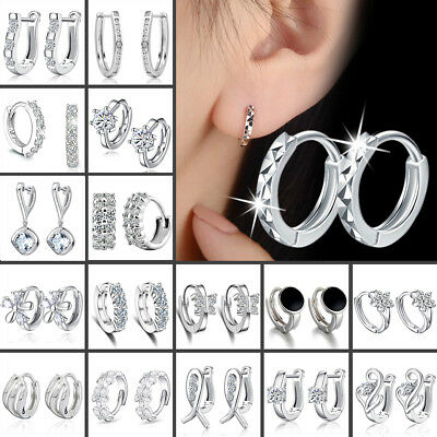 Charm Crystal 925 Sterling Silver Stud Hoop Earrings Fashion Womens UK Jewelry