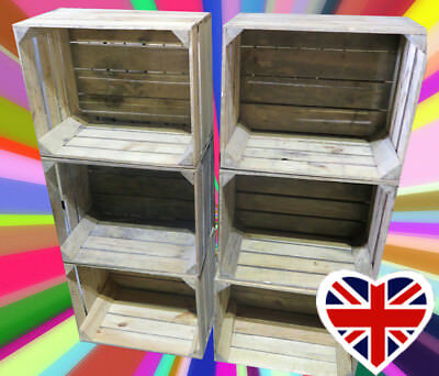 APPLE CRATES - CHOOSE YOUR QTY - RUSTIC & VINTAGE Wooden Boxes - FREE Delivery