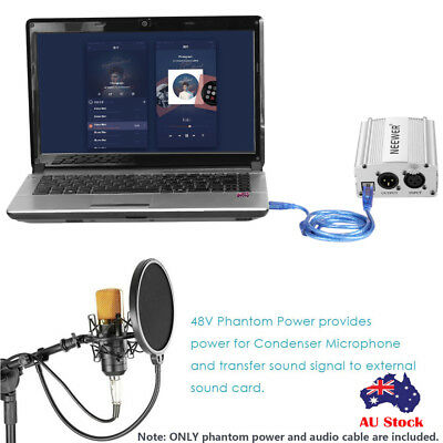 48V Phantom Power Supply USB2.0 Cable Dual Plug Microphone Cable For Condenser I