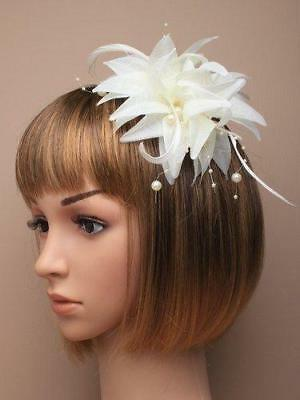 Ivory Coloured Fabric Flower Fascinator On A Forked Beak Clip With Brooch Pin