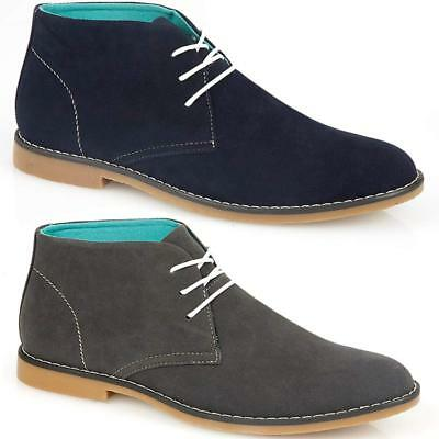 Mens Faux Suede Casual Retro Walking Chukka Lace Desert Ankle Boots Shoes Size