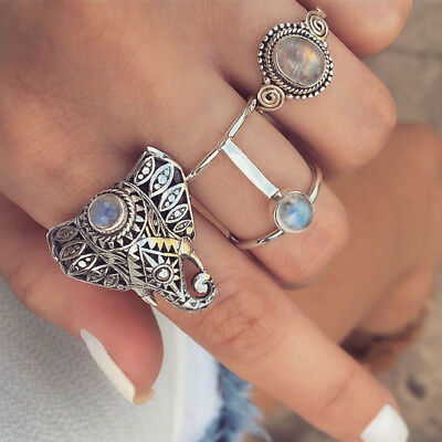 Cn_ Antique 3Pcs/Set Elephant Faux Gemstone Knuckle Finger Rings Women's Jewel
