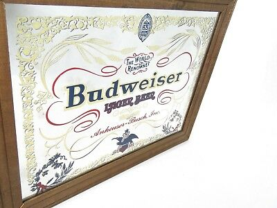 Vintage Budweiser Lager beer Mirror Advertising Sign wood frame Anheuser-Bush