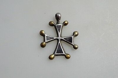 Medieval Crusades Knight Templar Silver Cross with Nielo and Gilding.Pendant.