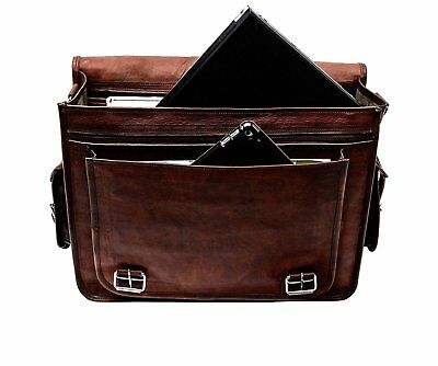 "Men's Retro Genuine Leather Messenger Shoulder Bag Satchel 15"" Laptop Briefcase"