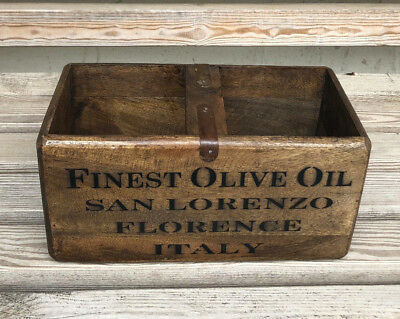 Rustic Antique Vintage Style FINEST OLIVE OIL Wooden Crates Boxes