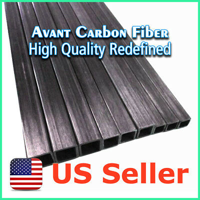 2pcs 10 x 10 x 8.5 x 500 mm Carbon Fiber Square Tube Pipe w/ 8.5mm Square Hole