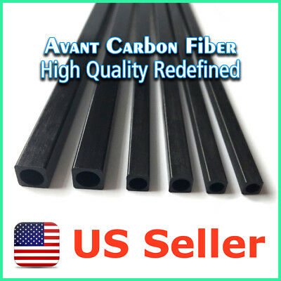 2pcs 6.15 x 4.15 x 3 x 500 mm Carbon Fiber Rectangle Tube with 3mm Round Hole