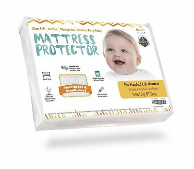 Crib Mattress Protector - Waterproof Pad Cover, Ultra-Soft Bamboo, Fitted She...