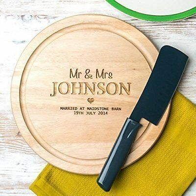 Personalised Wedding Anniversary Gift Wood 5th Year Cheese Board for Him and Her