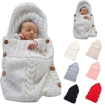UK Newborn Baby Knit Crochet Swaddle Wrap Swaddling Blanket Warm Sleeping Bag