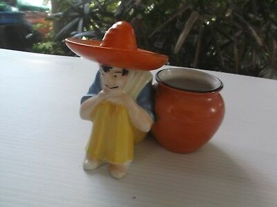 Vtg Retro Glazed Siesta Mexican Male  Figurine Planter Vase Sombrero Colorful