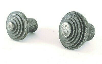 Antique Vintage Pewter Round Ribbed Cast Iron Cabinet Cupboard Drawer Knobs Pull